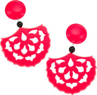 Isabel Canovas Red & Black Spanish Design Lucite Earrings