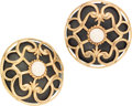 Luxury Accessories:Accessories, Isabel Canovas Gold, Black, and White Cabochon Round Earrings. ...