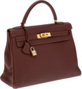 Luxury Accessories:Bags, Hermes 32cm Chocolate Togo Leather Retourne Kelly Bag with GoldHardware. ...