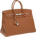 Luxury Accessories:Bags, Hermes 40cm Gold Togo Leather Birkin Bag with Palladium Hardware....