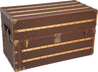 Louis Vuitton Stunning Damier Canvas Oversize Wardrobe Trunk with Burnt Orange Alcantra Interior, Retail ~$40,0