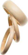 Luxury Accessories:Accessories, Set of Three; Bottega Veneta Beige Lizard Bangle Bracelets. ...(Total: 3 Items)