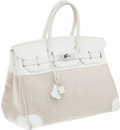 Luxury Accessories:Bags, Hermes 35cm White Clemence Leather & Toile Birkin Bag withPalladium Hardware. ...