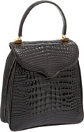 Luxury Accessories:Bags, Lana Marks Shiny Black Alligator Princess Diana Top Handle Bag. ...