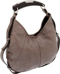 Luxury Accessories:Bags, Yves Saint Laurent by Tom Ford Gray Leather Horn Handle MombasaBag. ...