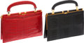 Luxury Accessories:Bags, Set of Two Fine Vintage Exotic Bags; Shiny Navy Blue Ostrich LegGold Frame Evening Bag & Shiny Red Crocodile Gold FrameEveni... (Total: 2 Items)