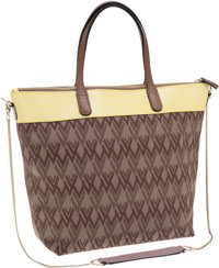 Valentino Canvas Tote Bag with Yellow Leather Trim