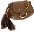 Luxury Accessories:Bags, Gucci Leather & Fox Tail Fur Winter Leaf Smilla Crossbody Bag....