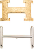 Luxury Accessories:Accessories, Set of Two: Hermes Hammered Gold Classic H Buckle and Hermes Palladium Hapi H Buckle. ...