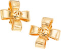 Luxury Accessories:Accessories, Chanel Gold Clip-on Bow Earrings. ...