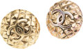 Luxury Accessories:Accessories, Chanel Gold Logo Clip-on Earrings. ...