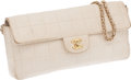 Luxury Accessories:Bags, Chanel White Lambskin Leather East-West Single Flap Bag. ...