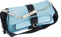 Christian Dior Light Blue Leather & Crystal Hardcore Dior Shoulder Bag
