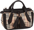 Luxury Accessories:Bags, Burberry Prorsum Classic Plaid Canvas & Dark Chocolate LeatherHaymarket Brogue Medium Dennet Tote Bag. ...