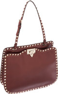 Luxury Accessories:Bags, Valentino Rockstud Collection Burgundy Leather Top Handle Bag. ...