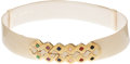Luxury Accessories:Accessories, Judith Leiber Beige Lizard Belt with Gold Buckle. ...