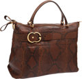 Luxury Accessories:Bags, Gucci Brown Snakeskin Large Tote Bag with Gold Buckle. ...