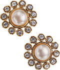Luxury Accessories:Accessories, Chanel Pearl & Crystal Flower Clip-on Earrings. ...