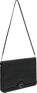 Luxury Accessories:Accessories, Judith Leiber Black Leather Bag with Red Trim. ...
