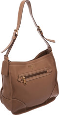 Luxury Accessories:Bags, Prada Brown Leather Hobo Bag. ...