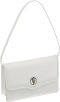 Luxury Accessories:Bags, Kieselstein Cord White Patent Leather Clutch with Shoulder Strap....