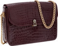 Luxury Accessories:Bags, Bidente Burgundy Crocodile Flap Bag with Gold Chain. ...