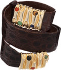 Luxury Accessories:Accessories, Judith Leiber Chocolate Alligator Belt with Gold Buckle. ...