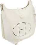 Luxury Accessories:Bags, Hermes White Clemence Leather Evelyne III Messenger Bag. ...