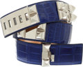 Luxury Accessories:Accessories, Hermes 90cm Shiny Blue Electric Porosus Crocodile Collier de Chien Belt with Palladium Hardware. ...