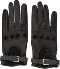 Luxury Accessories:Accessories, Hermes Black Agneau Leather Driving Gloves. ...