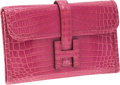 Luxury Accessories:Bags, Hermes Shiny Fuchsia Nilo Crocodile Jige PM H Clutch. ...