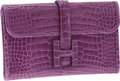 Luxury Accessories:Bags, Hermes Shiny Violet Alligator Jige PM H Clutch. ...