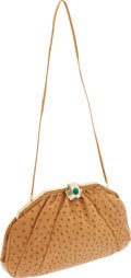 Luxury Accessories:Bags, Judith Leiber Cognac Ostrich Oversized Clutch with Green CabochonDeco Closure. ...
