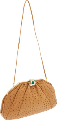 Judith Leiber Cognac Ostrich Oversized Clutch with Green Cabochon Deco Closure