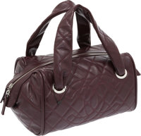 Chanel Burgundy Caviar Leather Quilted Bowling Bag