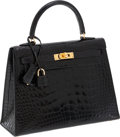 Luxury Accessories:Bags, Hermes 25cm Shiny Black Alligator Sellier Kelly Bag with Gold Hardware. ...