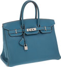 Luxury Accessories:Bags, Hermes 35cm Blue Jean Chevre Leather Birkin Bag with Palladium Hardware. ...