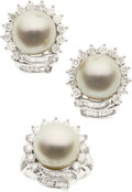 Estate Jewelry:Coin Jewelry and Suites, South Sea Cultured Pearl, Diamond, Gold Suite. ...