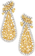 Estate Jewelry:Earrings, Fancy Colored Diamond, Diamond, Gold Earrings. ...