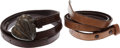 Luxury Accessories:Accessories, Set of Two: Kieselstein Cord Light Brown and Dark Brown Lizard BeltStraps with Sterling Silver Heart Buckle. ...