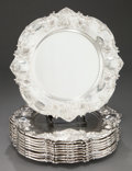 Silver Holloware, American:Plates, A SET OF TEN REED & BARTON SILVER PLATES. Reed & Barton,Taunton, Massachusetts, circa 1900. Marks: (eagle-R-eagle),STERL... (Total: 10 Items)