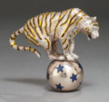 Silver Smalls:Other , A TIFFANY & CO. SILVER AND ENAMEL BALANCING CIRCUS TIGERDESIGNED BY GENE MOORE . Tiffany & Co., New York, New York,circa 1... (Total: 2 Items)