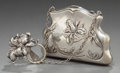 Silver Smalls:Other , AN UNGER BROTHERS SILVER CHATELAINE CLIP AND SILVER PLATED PURSE .Unger Bros., Newark, New Jersey, circa 1900. Marks: U... (Total:2 Items)