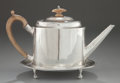 Silver Holloware, British:Holloware, A HESTER BATEMAN GEORGE III SILVER TEAPOT AND STAND . HesterBateman, London, England, circa 1787-1788. Marks: (lion passant...(Total: 2 Items)