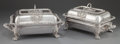 Silver Holloware, British:Holloware, A PAIR OF S.C. YOUNGE GEORGE IV SILVER AND SILVER PLATED COVEREDENTRÉE SERVING DISHES ON STANDS. S.C. Younge & Co., Sheffie...(Total: 2 Items)