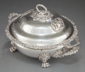 Silver & Vertu:Hollowware, A S.C. YOUNGE GEORGE IV SILVER AND SILVER PLATED COVERED VEGETABLE SERVING DISH ON STAND. S.C. Younge & Co., Sheffield, Engl...