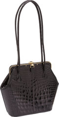 Luxury Accessories:Bags, Judith Leiber Shiny Black Crocodile Bag with Gold Frame and BlackCabochon Closure. ...