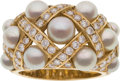 Luxury Accessories:Accessories, Chanel Matelasse Pearl, Diamond & 18K Gold Ring. ...