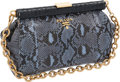 Luxury Accessories:Bags, Prada Blue Snakeskin Frame Bag with Gold Chain Strap. ...