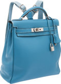 Luxury Accessories:Bags, Hermes Blue Jean Togo Leather Kelly Ado Backpack. ...